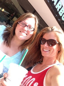 We totally HAD to stop at Starbucks prior to the game.  Frappucino's for us both!