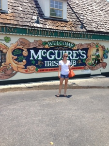 Jenn in front of McGuire's Irish Pub