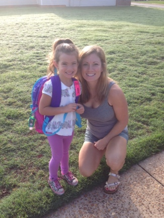 Mom & Brynn wait for the bus not he first day of Pre-K.